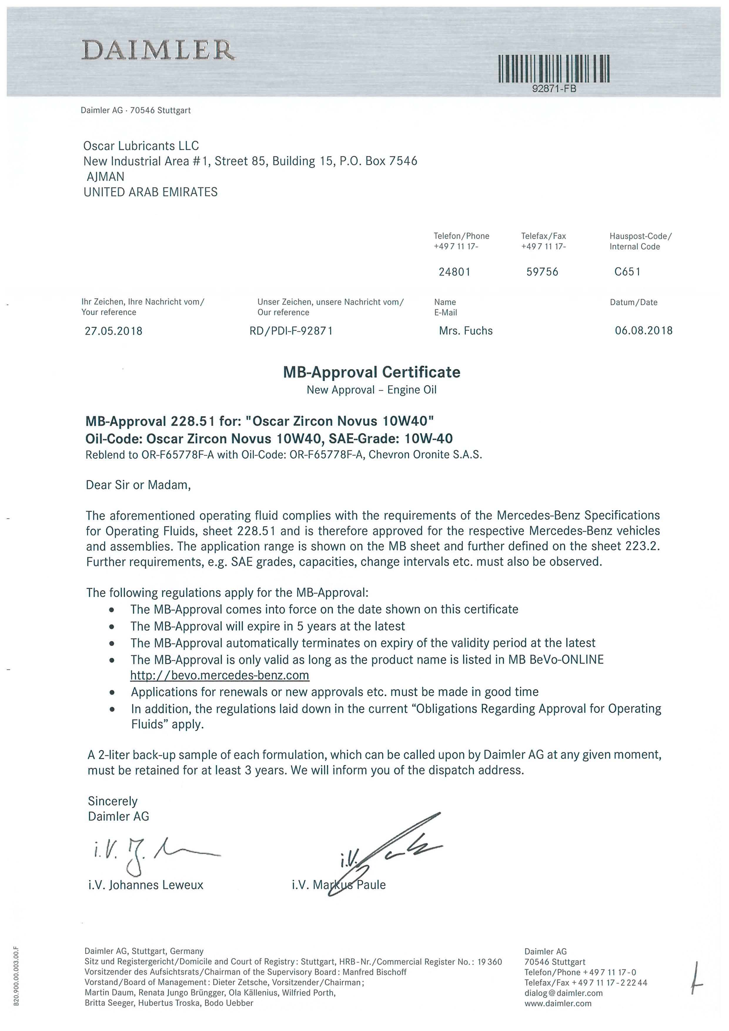 MB Approval - Oscar Zircon Novus SAE 10W40