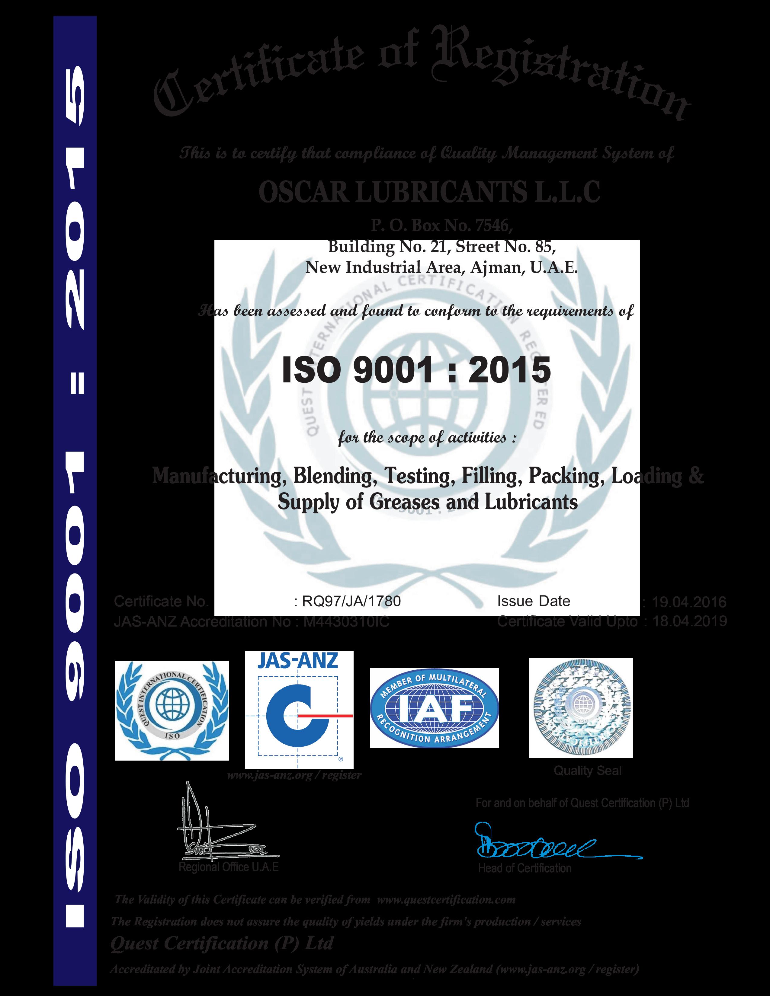 Oscar ISO 9001-2015